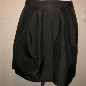 J Crew Silk Taffeta Mini Black Skirt Size 8